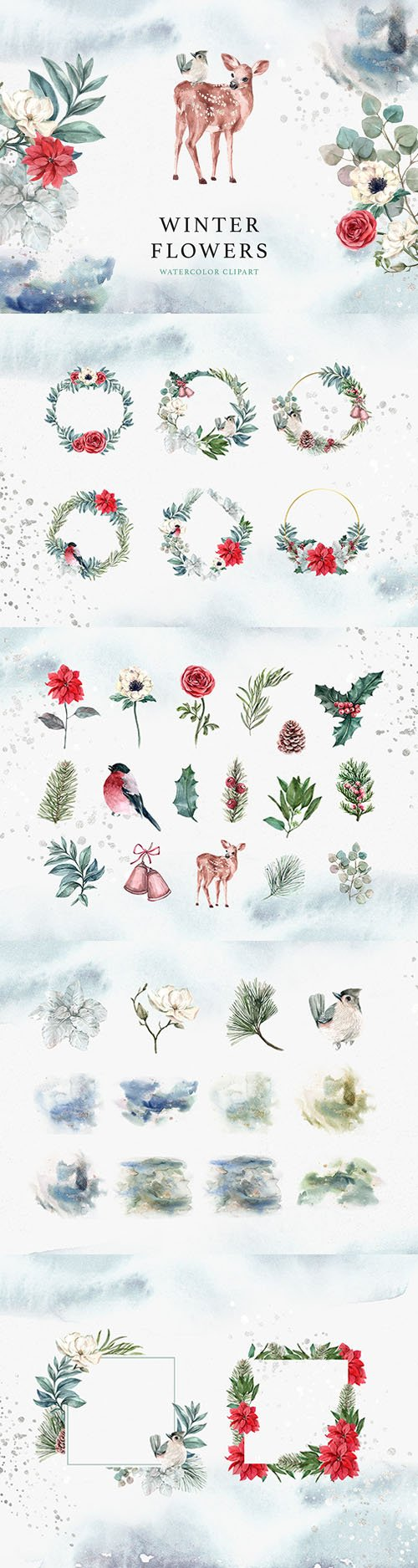 Winter Flowers Watercolor PNG Clipart