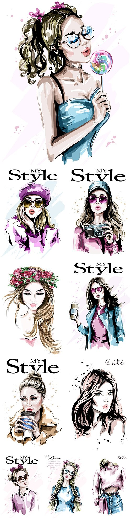 My style Hand drawn beautiful young and fashion girl