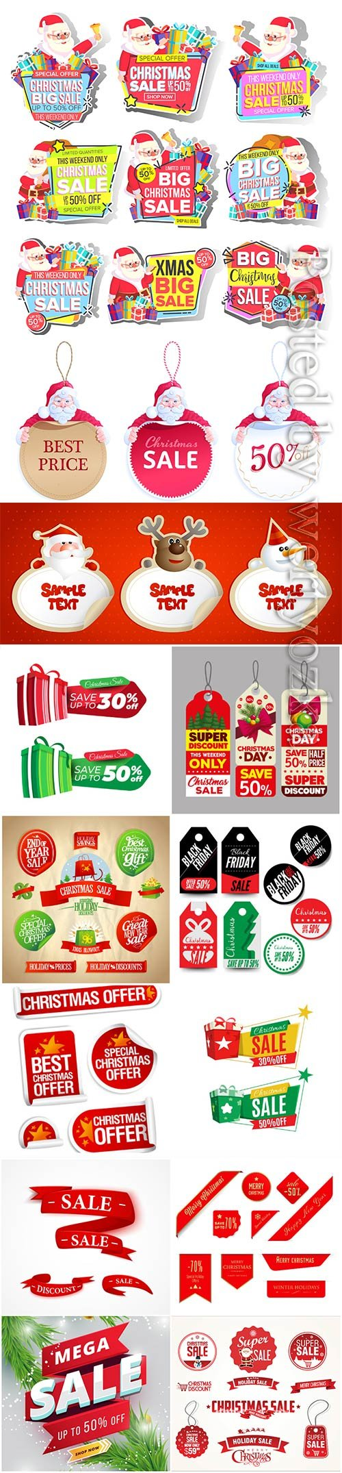 Christmas and new year stickers set, tags with labels vol 4