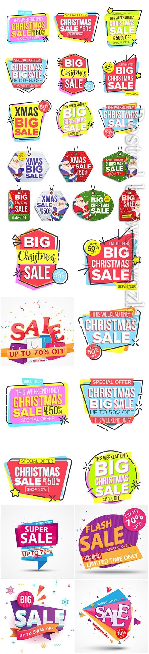 Christmas and new year stickers set, tags with labels vol 3