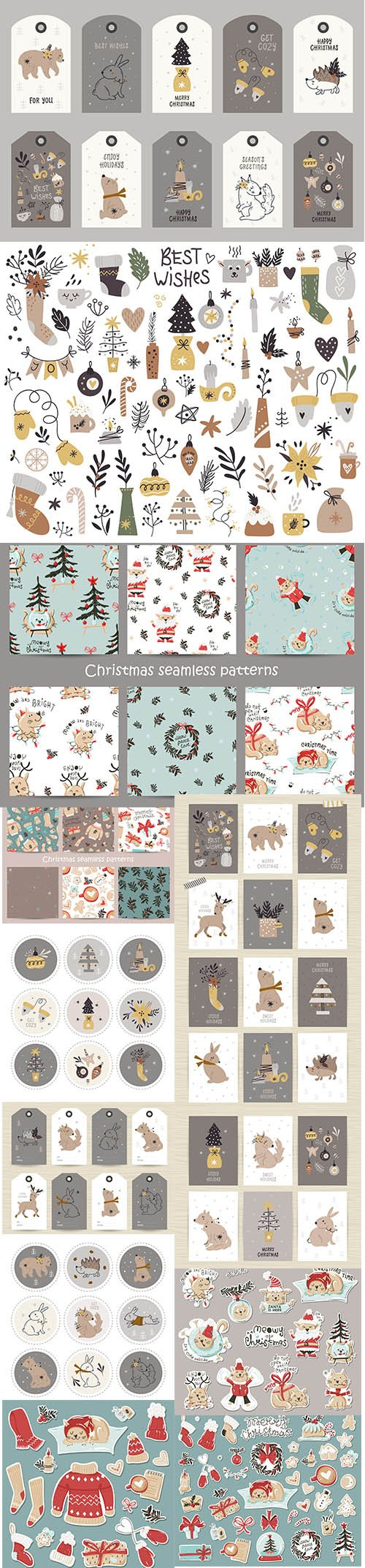 Collection tags with christmas items animals