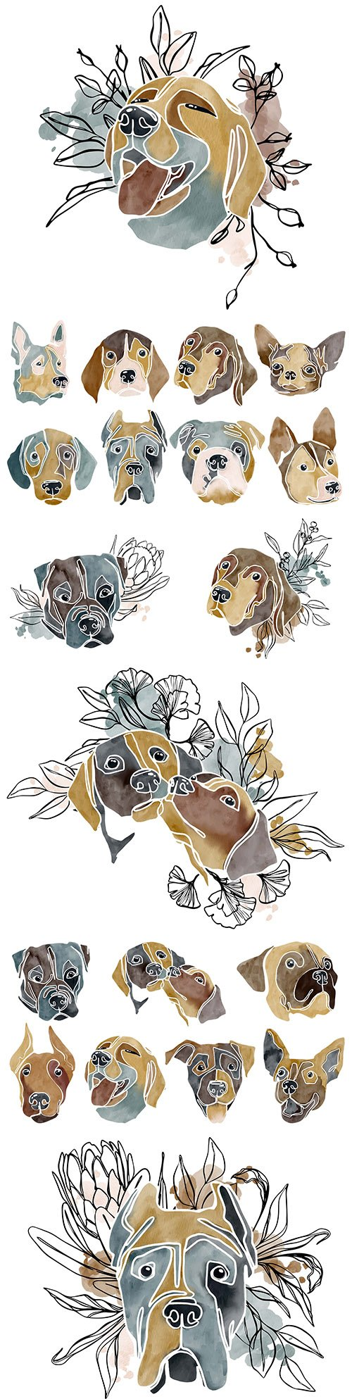 Dogs of different breeds abstract illustrations