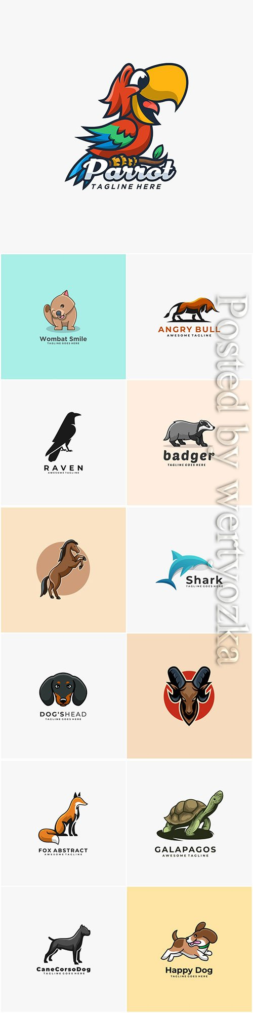 Animals and birds logos in vector vol 4