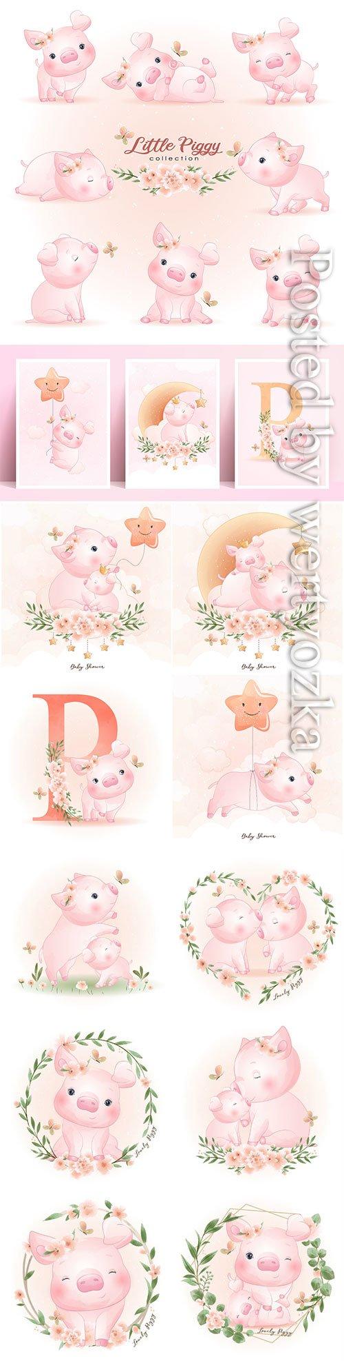 Cute doodle piggy poses with floral illustration premium vector