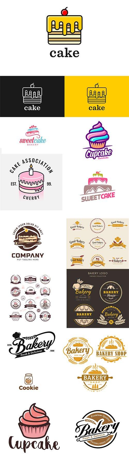 Bakery cake logo template collection vol 2