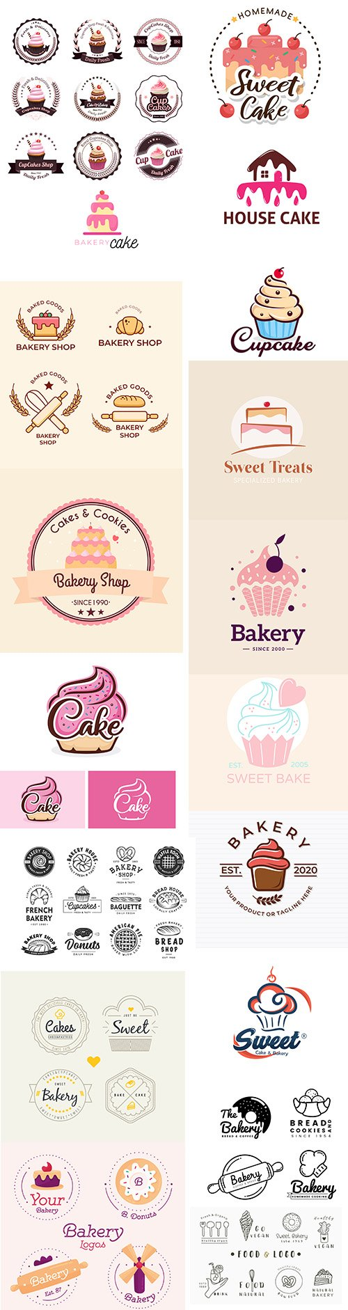 Bakery cake logo template collection