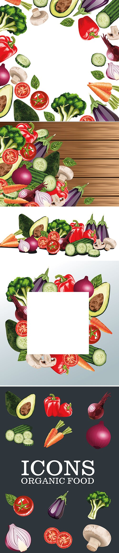 Set of fresh vegetables salad vector illustrations