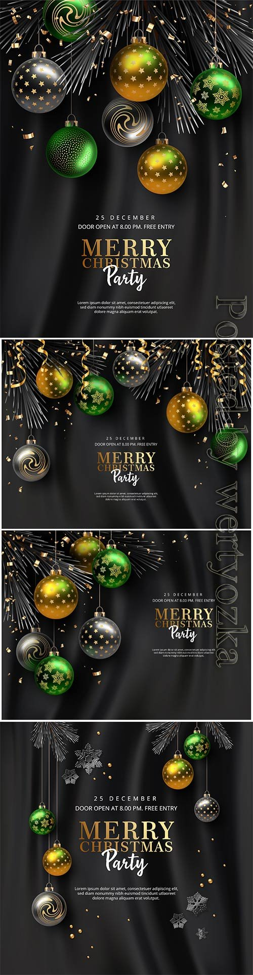 Christmas and new year party vector poster