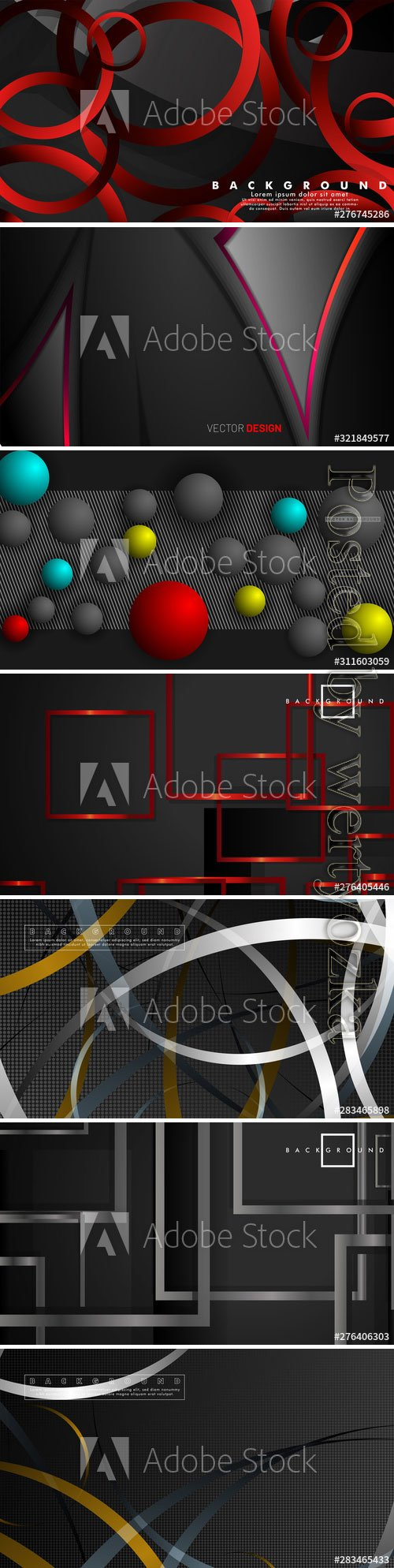 Dark abstract backgrounds with lines and balls