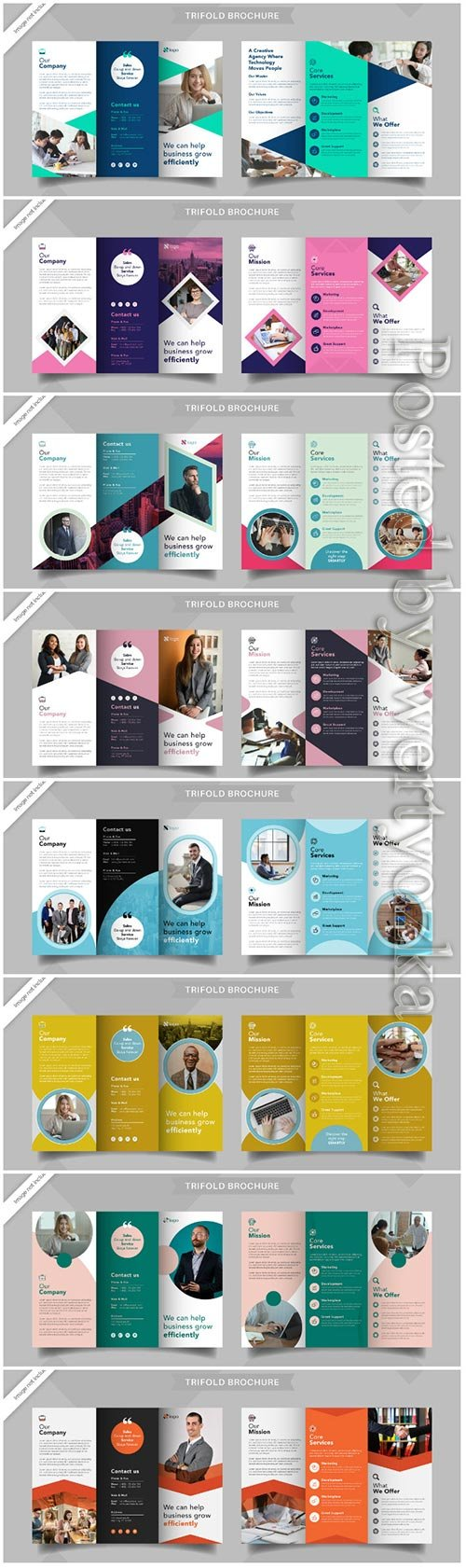 Corporate business trifold brochure vector template