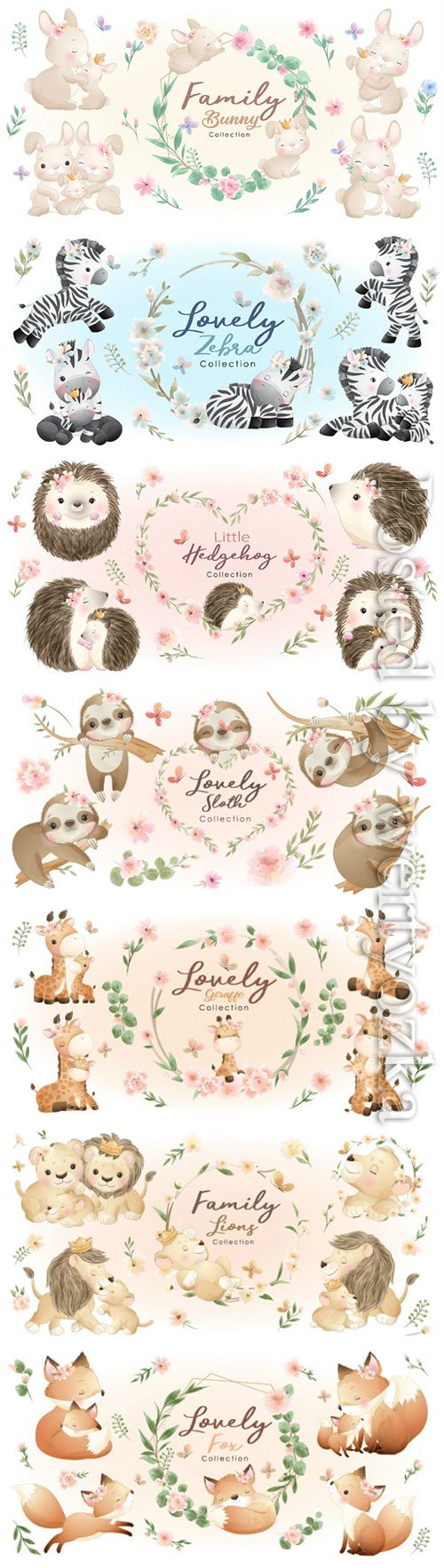 Cute animals collection of vector illustrations