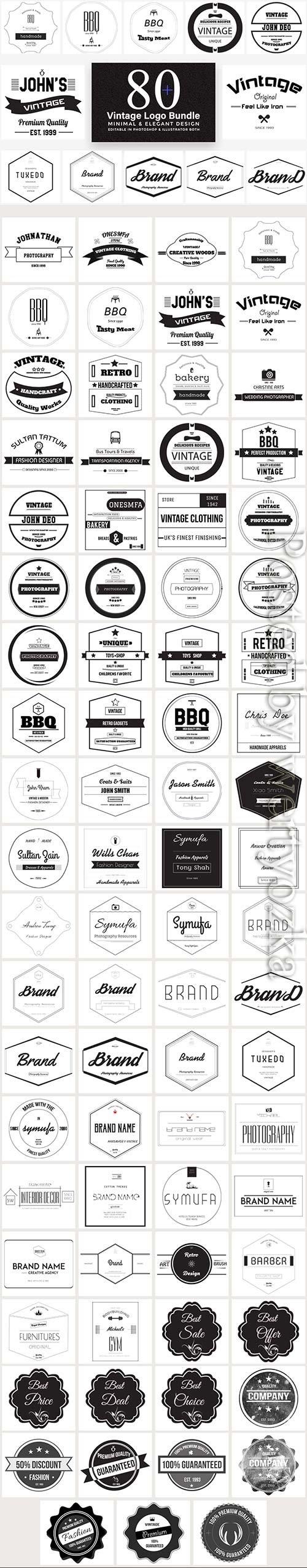 80 Vintage Logo Bundle Full Preview