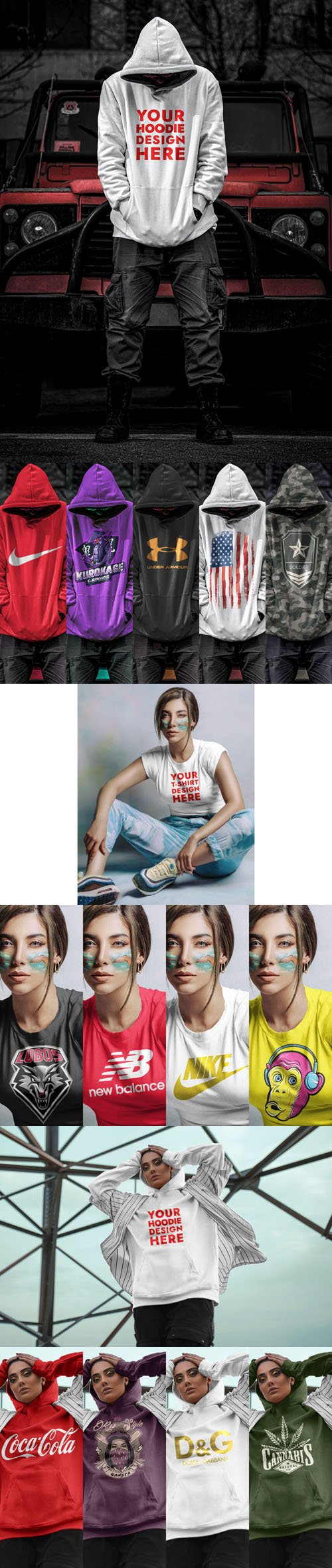 Hoodie and T-Shirt PSD Mockups Collection for Men and Women