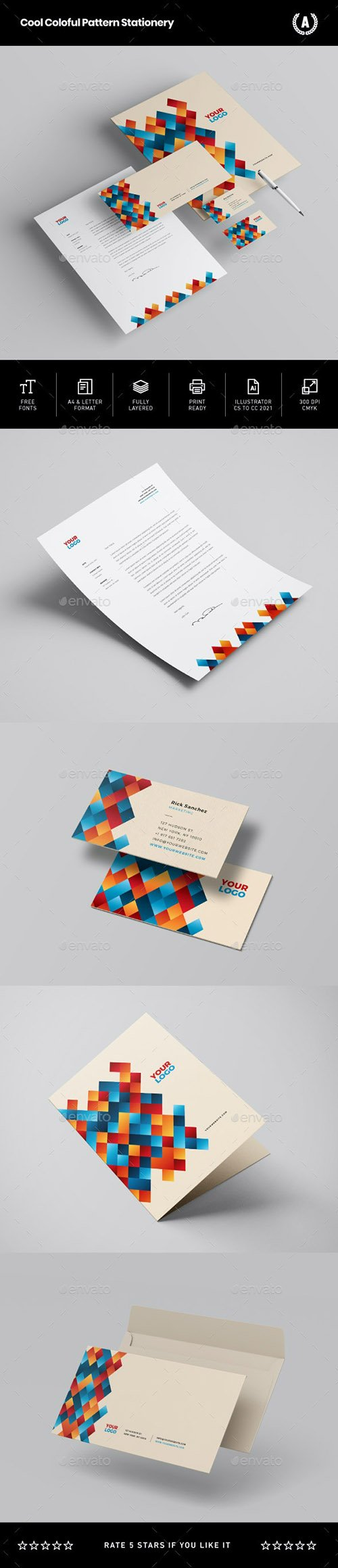 Cool Colorful Pattern Stationery 29328025