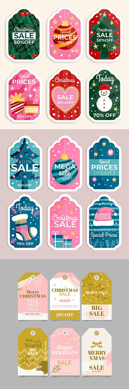 Flat design christmas sale tag collection