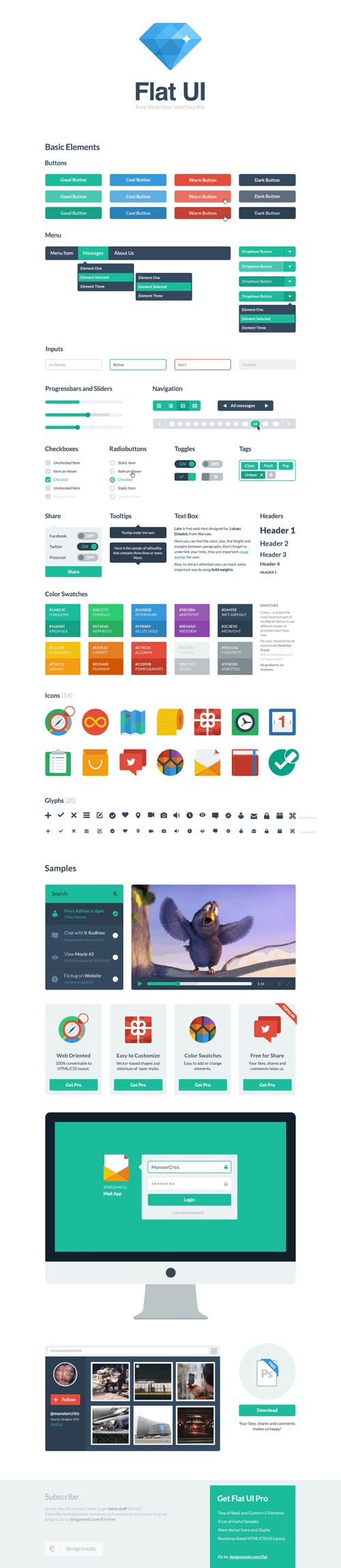 Flat UI – Framework and Bootstrap Theme Design [PSD/HTML]