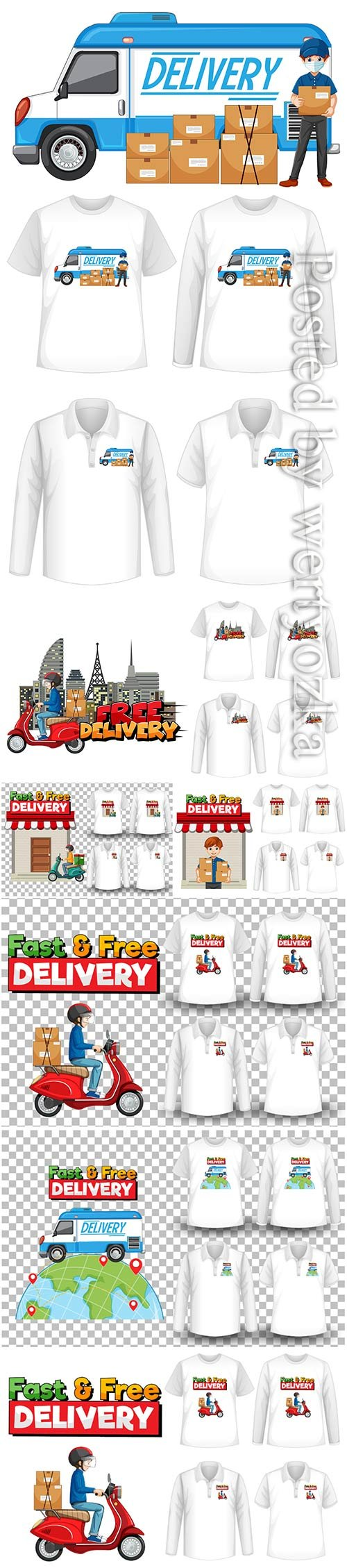 Set of mockup shirt with delivery theme in vector