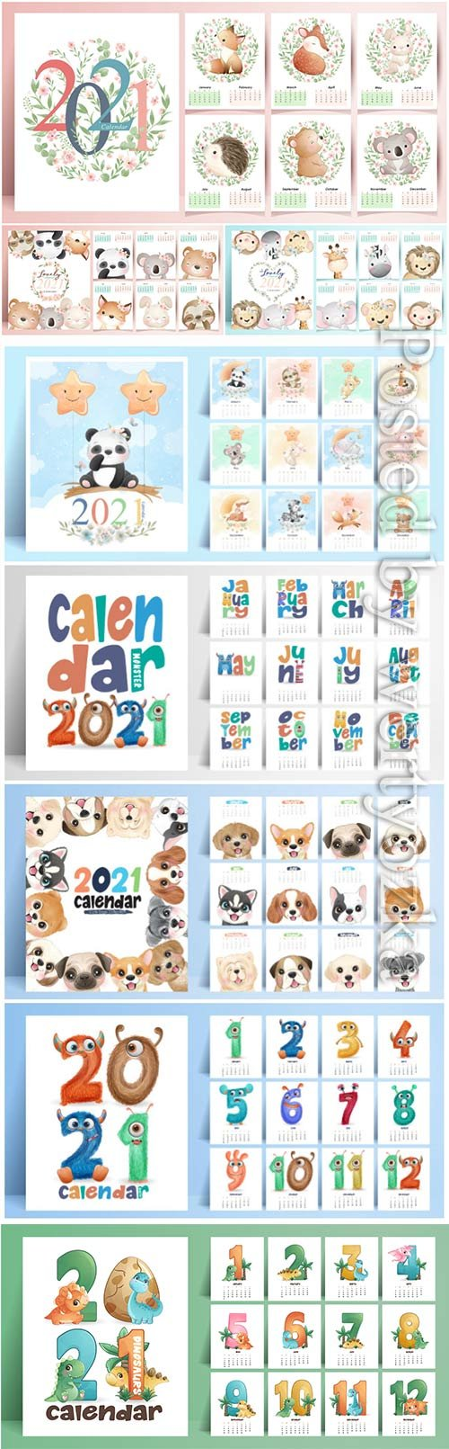 Cute animals calendar for year vector collection