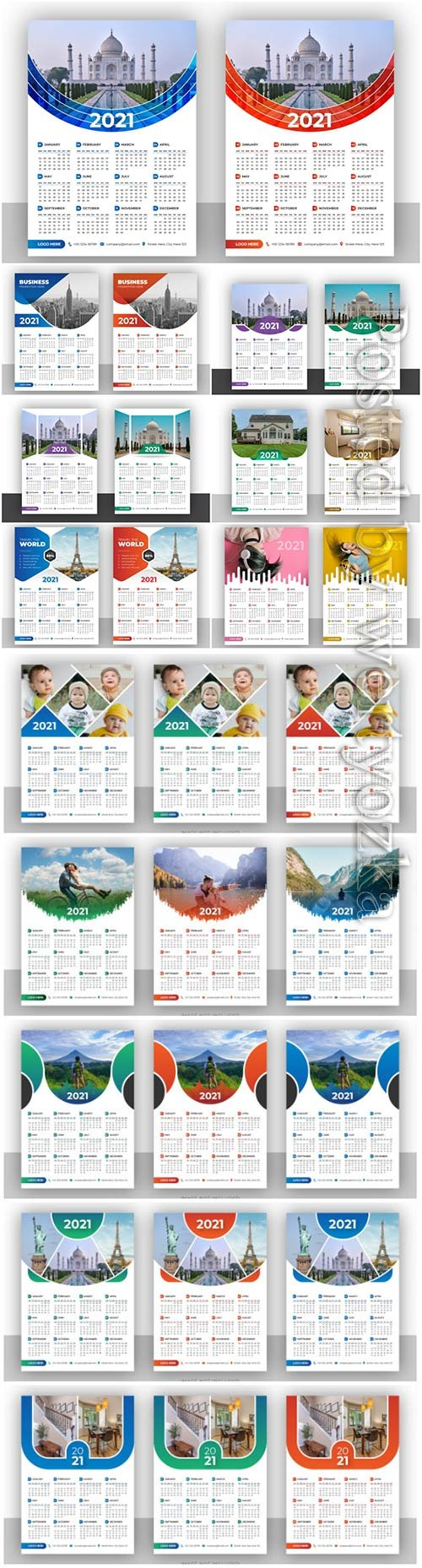 Calendar 2021 design vector template for new year