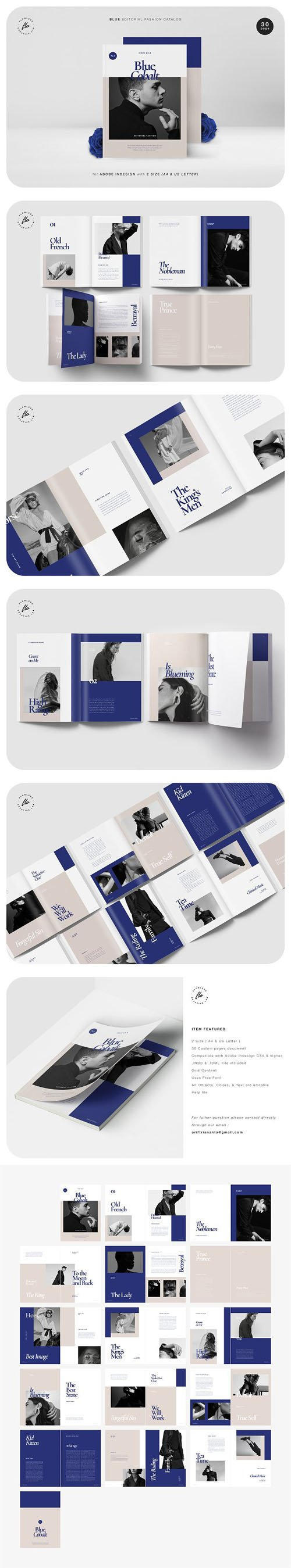 Blue Editorial Fashion Catalog Indesign INDD Templates [A4/US Letter]