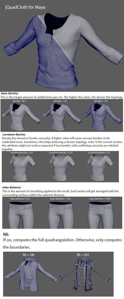 jQuadCloth v0.19 / v0.20 for Maya 2016-2020