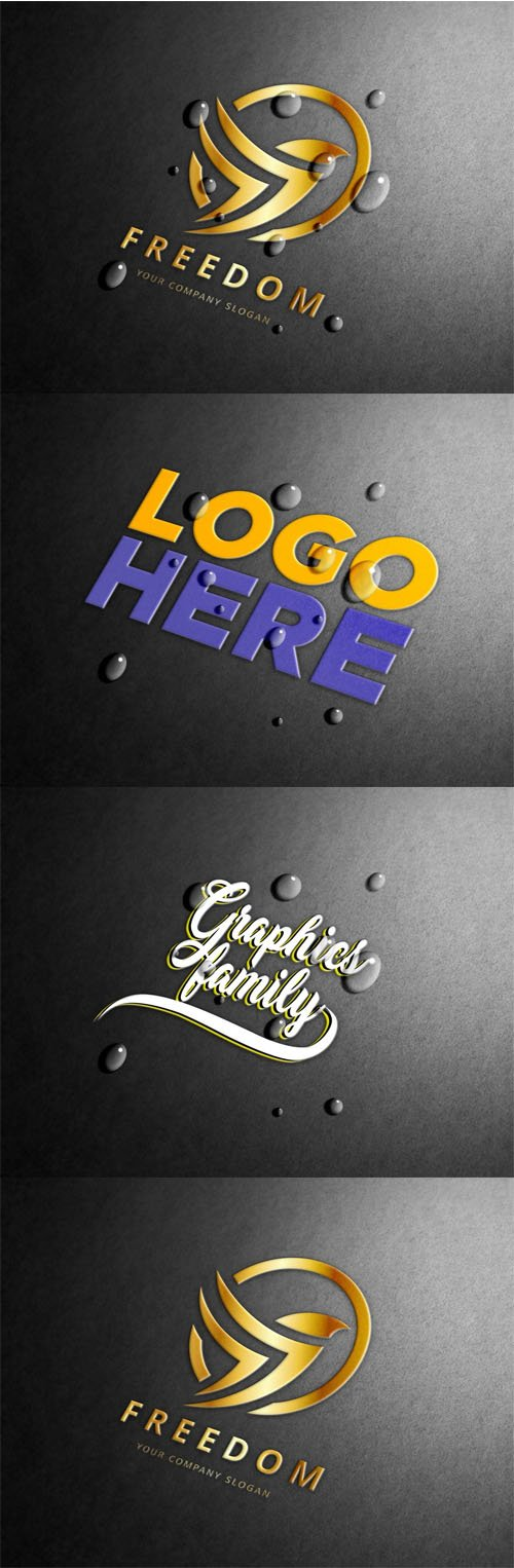 Embossed Logo PSD Mockups with Water Drops