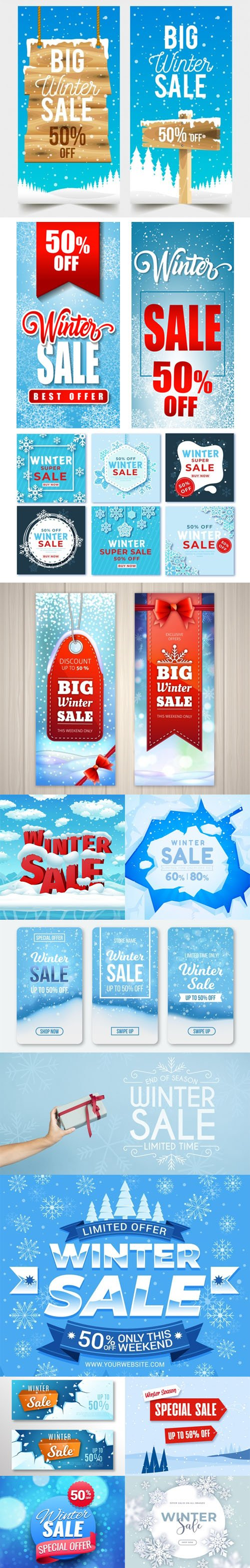 14 Winter Sales Banners & Backgrounds Collection in Vector