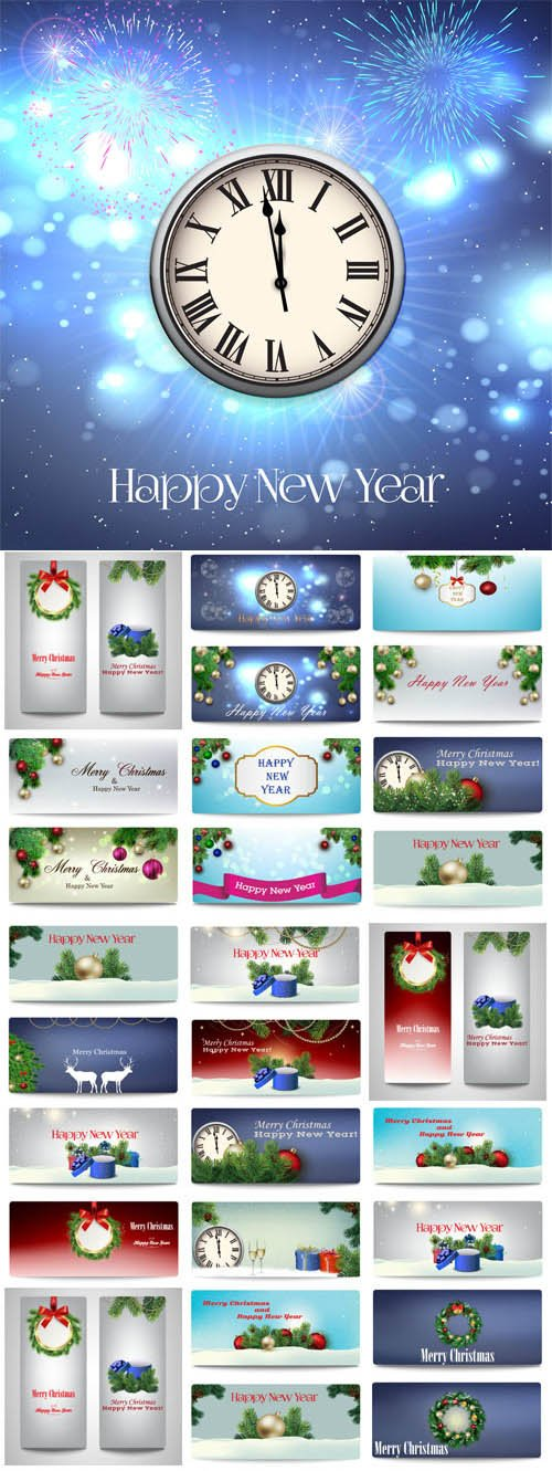 New Year and Christmas illustrations in vector 54