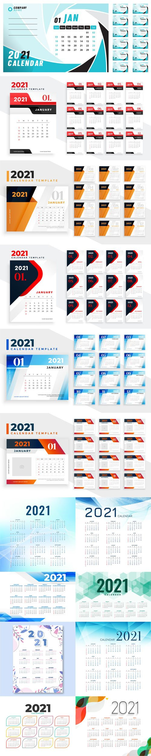 14 New Year 2021 Calenders Templates in Vector