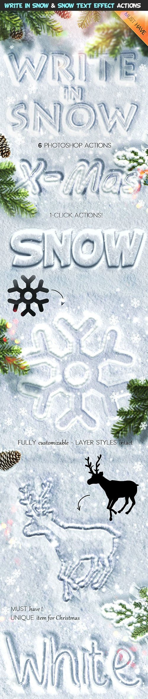 Write in Smow & Snow Text Effect Photoshop Actions, Brushes & Patterns