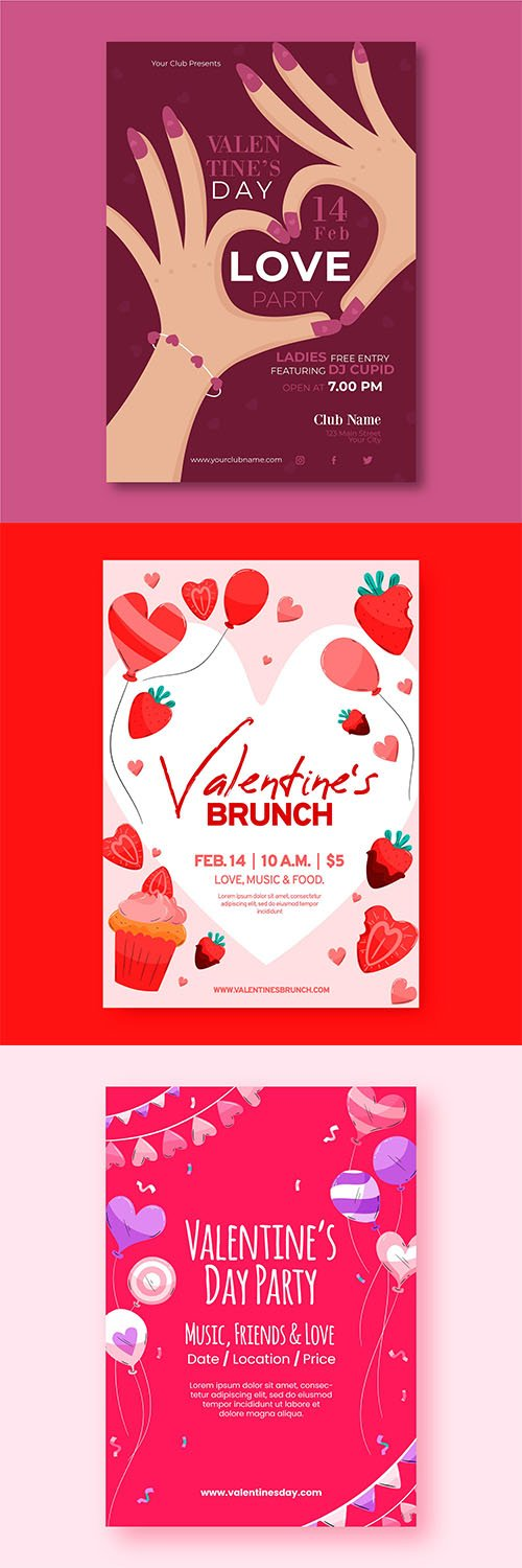 Flat Valentines day party poster template