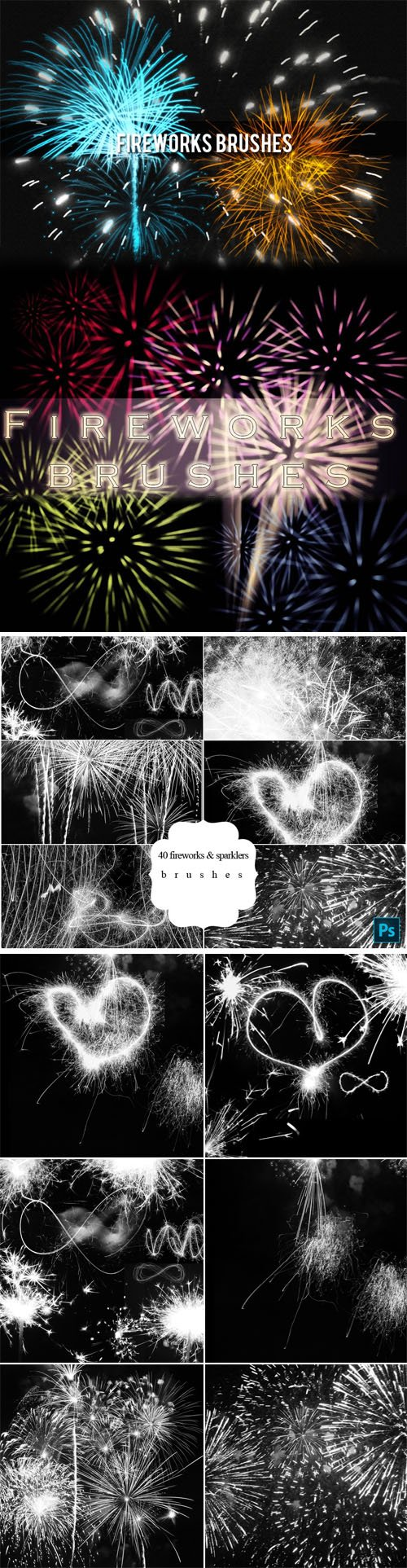 60+ Fireworks & Sparklers Brushes Collection for Photoshop