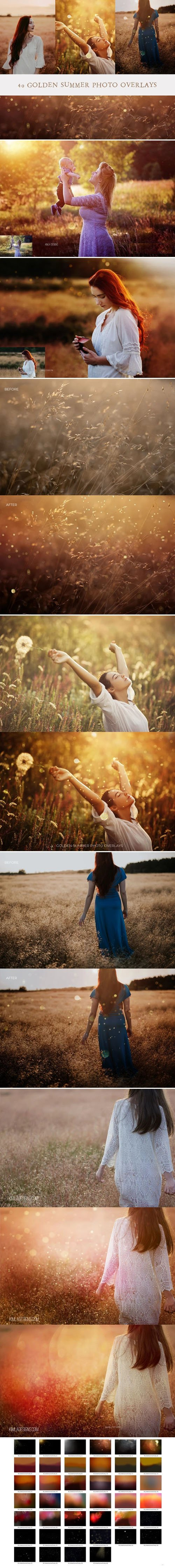 40 Golden Summer Photo Overlays Collection