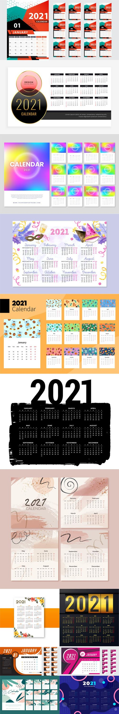13 New Year 2021 Calendars Templates in Vector