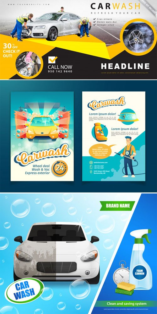 Car Wash Advertising Templates in Vector