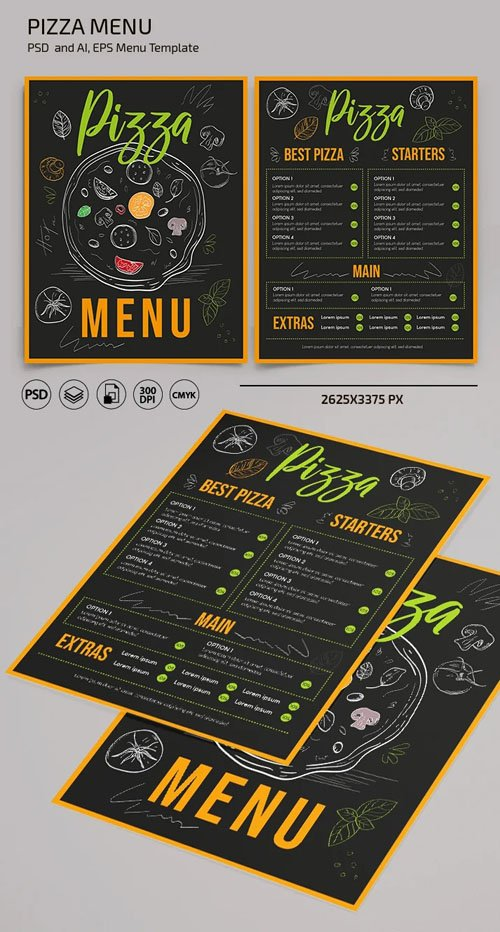 Pizza Menu PSD + Vector Templates