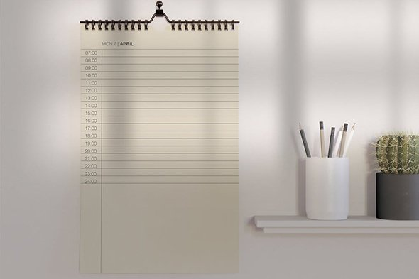 Desk with Calendar Mockup PSD