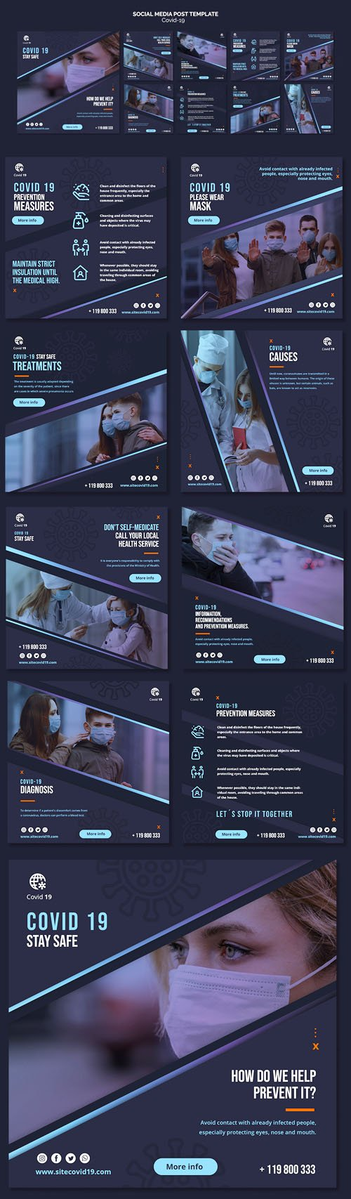 Covid-19 - Social Media Post PSD Template