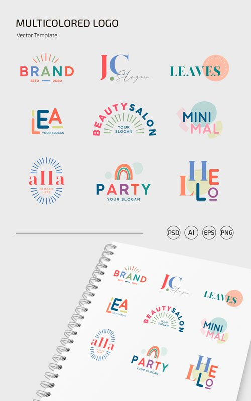 9 Multicolored Logo Set PSD Templates + Vector