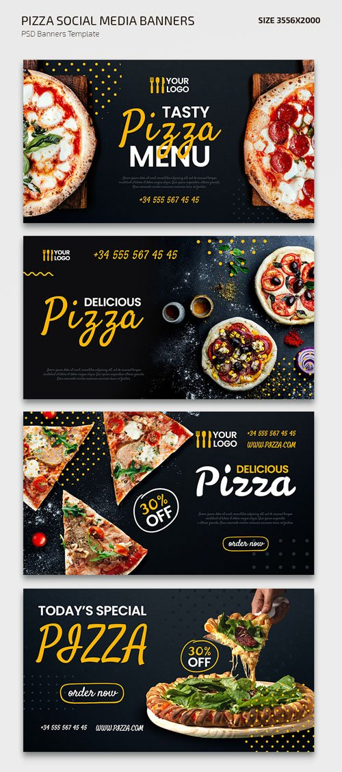 Pizza Social Media Banners PSD Templates