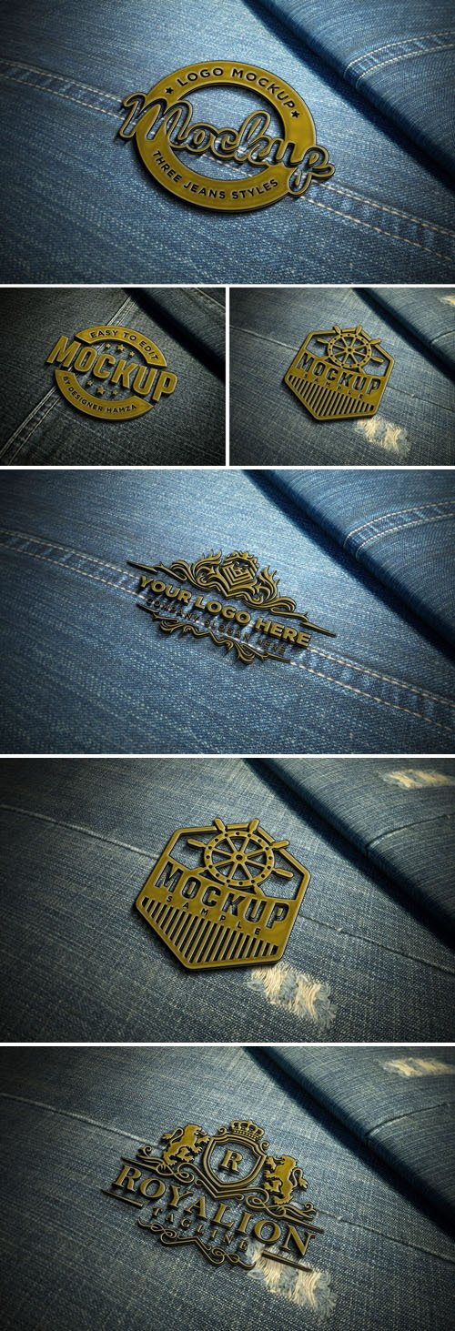 Metal Badge On Jeans - Logo PSD Mockup Template