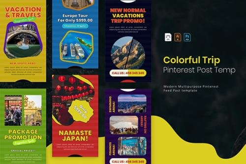 Colorful Trip | Pinterest Post Template