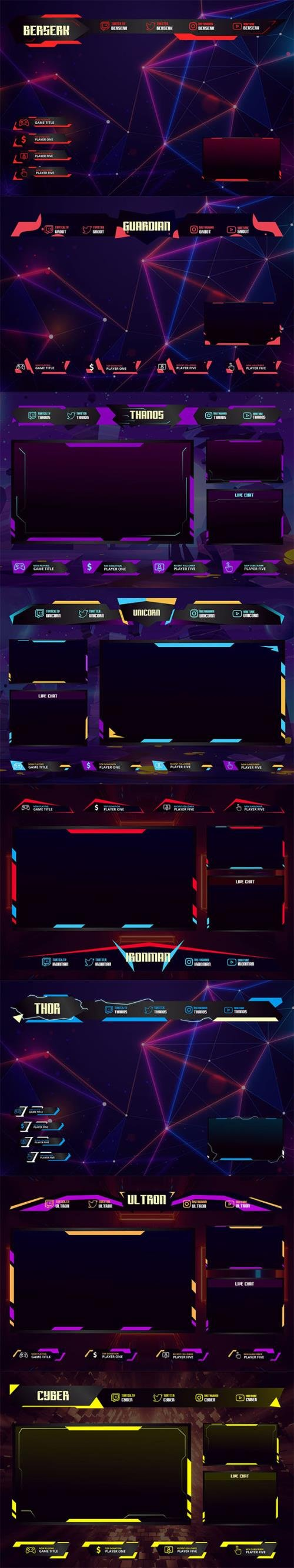 11 Twitch Overlay Templates Bundle