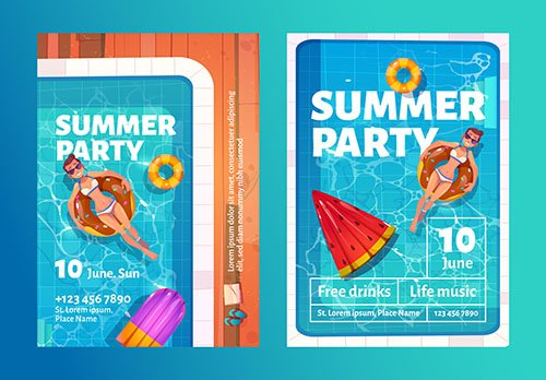 Summer party cartoon flyers with woman swimming pool inflatable ring