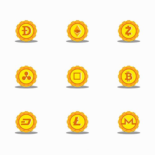 Collection of altcoins icons