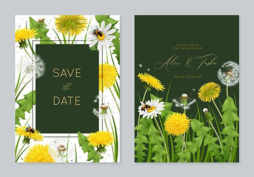 Wedding invitation card template with leaves