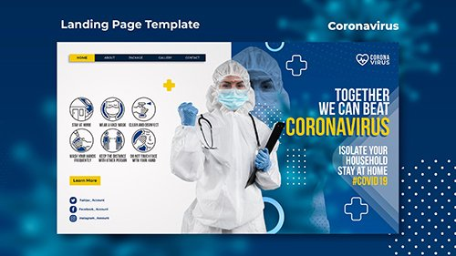Landing psd page template for coronavirus awareness